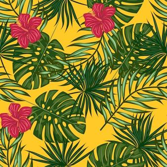 Modello di foglie e fiori tropicali