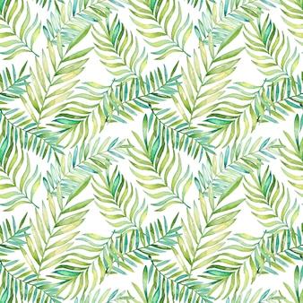 Modello di foglie tropicali dell'acquerello