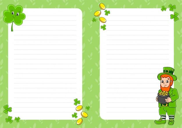 Modello di foglio colorato per le note. pagina di carta per art journal, quaderno. leprechaun con una pentola d'oro, trifoglio. festa di san patrizio.
