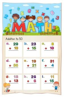 Modello di foglio di lavoro matematico per l'aggiunta a cinquanta