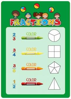 Modello di foglio di lavoro per le frazioni matematiche