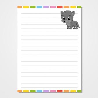Modello di foglio per notebook, blocco note, diario. con l'immagine di un personaggio carino.