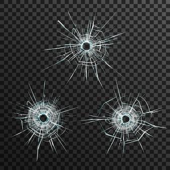 Modello di fori di proiettile in vetro su sfondo grigio trasparente