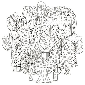 Modello di forma circolare con alberi di fantasia per libro da colorare