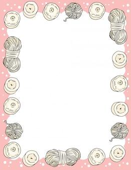 Modello di formato lettera con candele e fili di filati in scarabocchi stile fumetto