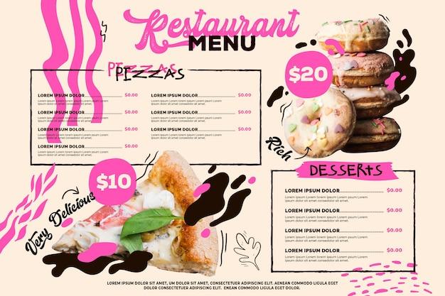 Modello di formato orizzontale menu ristorante digitale con ciambelle e pizza