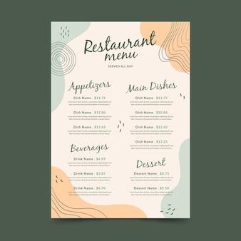 Modello di formato verticale del menu del ristorante digitale di memphis
