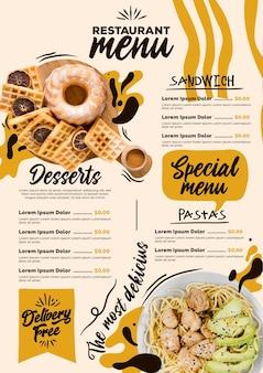 Modello di formato verticale del menu ristorante digitale con pasta e dolci