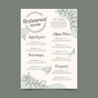 Modello di formato verticale menu ristorante digitale con foglie