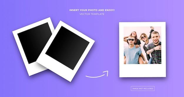 Modello di foto istantanea polaroid