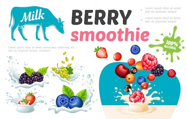 Modello di frullati sani dolci del fumetto con bacche fresche naturali in spruzzi di latte e crema