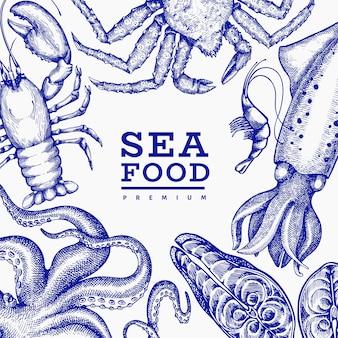 Modello di frutti di mare. illustrazione di frutti di mare disegnati a mano banner di cibo stile inciso. sfondo di animali marini retrò