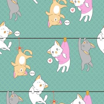 Modello di gatti affamati.