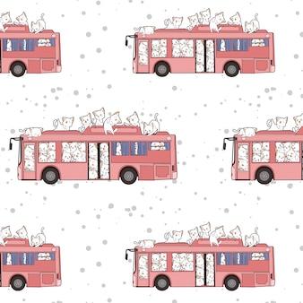 Modello di gatti e autobus kawaii senza soluzione di continuità