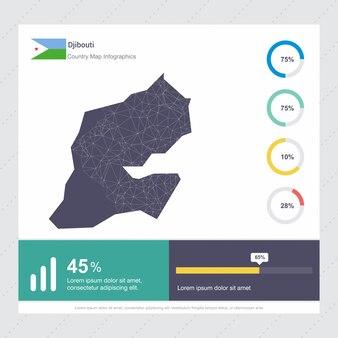 Modello di gibuti map & flag infographics