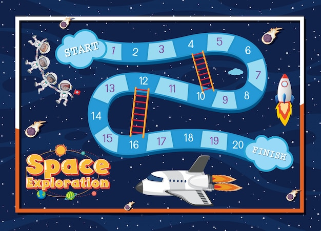 Modello di gioco con astronave e astronauti