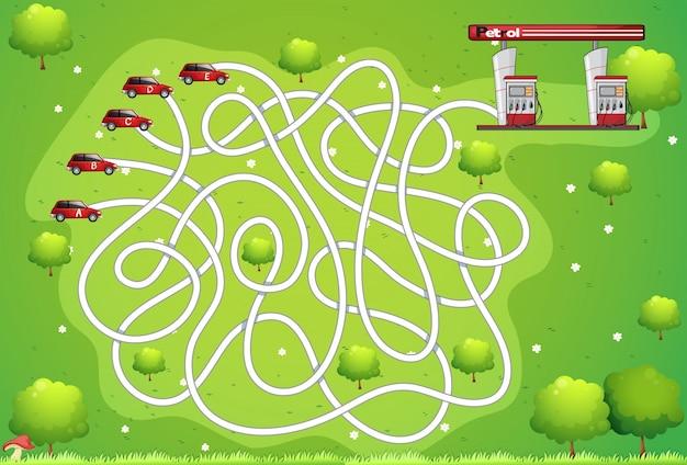 Modello di gioco con auto e benzinaio