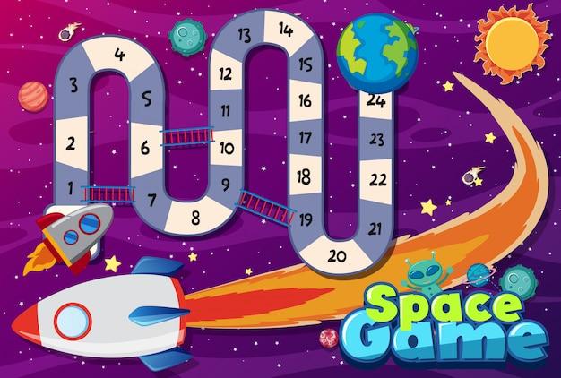 Modello di gioco con l'astronave che vola sullo sfondo dello spazio