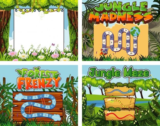 Modello di gioco con molti alberi nella giungla