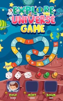 Modello di gioco con molti pianeti sullo sfondo dello spazio