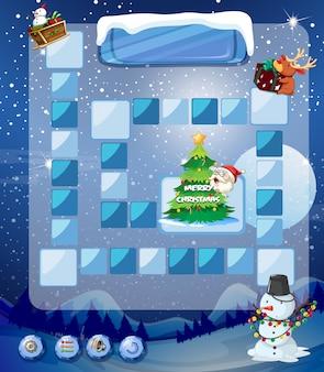 Modello di gioco con pupazzo di neve e albero