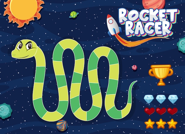 Modello di gioco con serpente verde sullo sfondo dello spazio