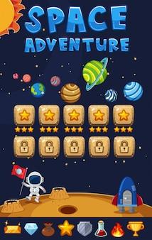 Modello di gioco con sfondo di avventura spaziale