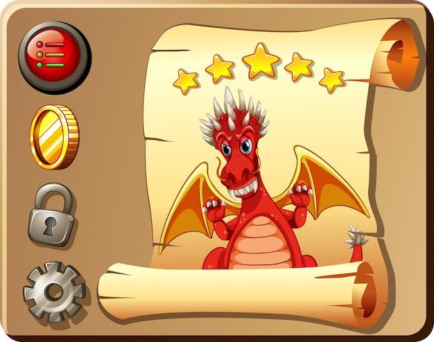 Modello di gioco con sfondo drago rosso