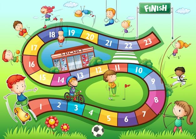 Modello di gioco da tavolo con lo sport illustrazione del tema