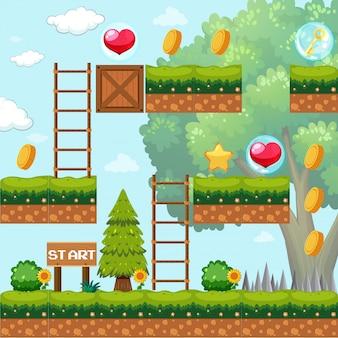 Modello di gioco nella scena della foresta