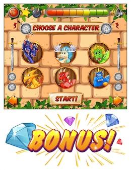 Modello di gioco per computer con draghi come personaggi di gioco