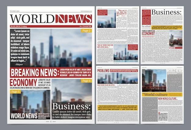 Modello di giornale poster realistico