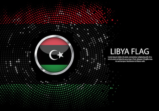 Modello di gradiente di mezzitoni sfondo della bandiera della libia.
