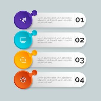 Modello di gradiente infografica passi