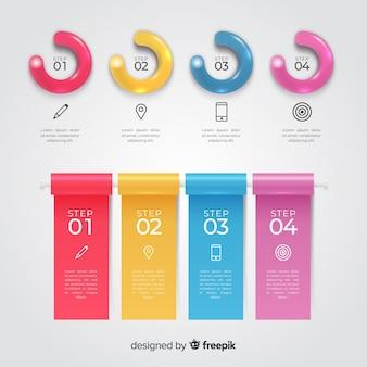 Modello di grafici infografica lucido