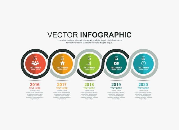 Modello di grafico di processo timeline elementi cerchio infografica