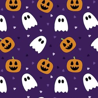 Modello di halloween con fantasmi e zucche