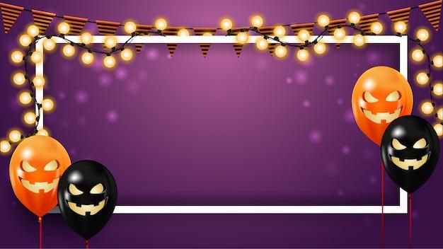 Modello di halloween viola orizzontale con ghirlanda