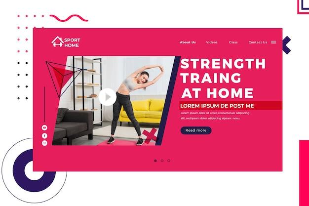 Modello di home page dello sport domestico con foto
