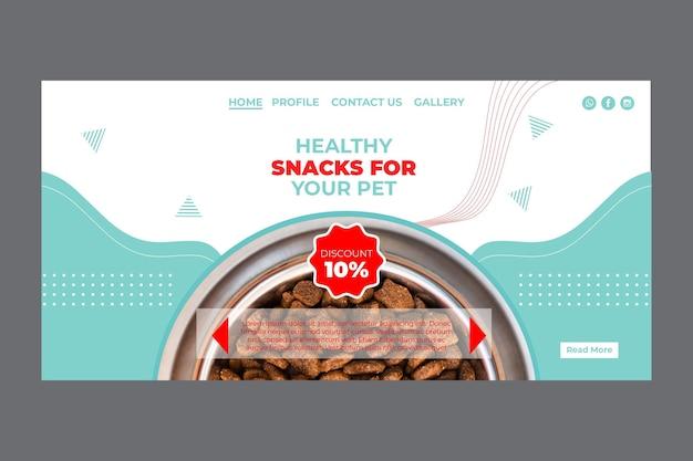 Modello di home page di alimenti per animali domestici con foto
