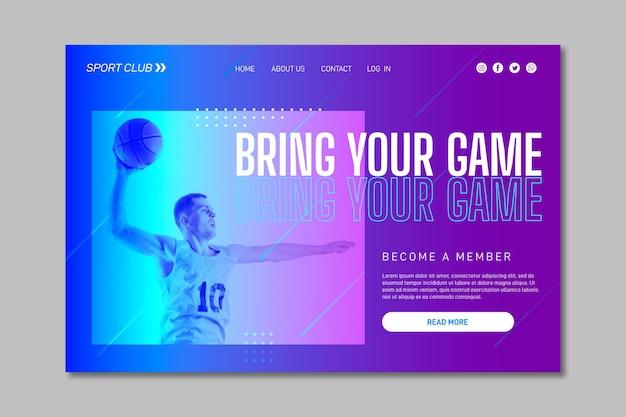 Modello di home page di formazione con foto