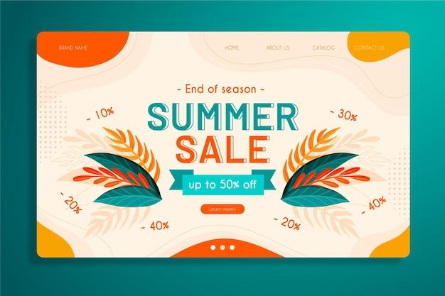 Modello di home page di vendita di fine estate