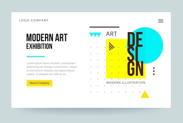 Modello di home page per il sito web della galleria d'arte