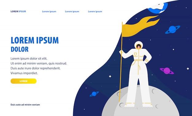 Modello di homepage del sito web del turismo spaziale