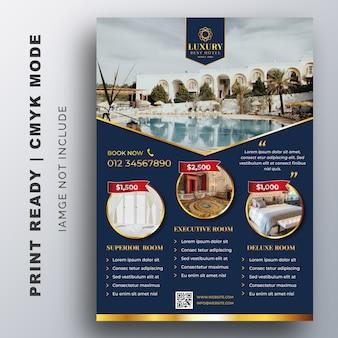 Modello di hotel di lusso per poster, flyer, modello di progettazione