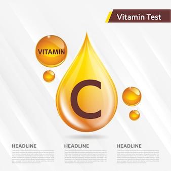 Modello di icona d'oro di vitamina c.