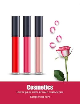 Modello di icone di collezione bellezza lipgloss. pacchetti cosmetici
