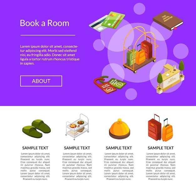 Modello di icone hotel isometrica