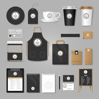 Modello di identità aziendale. concetto di logo per caffetteria, bar, ristorante.