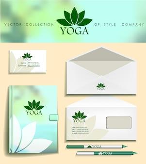 Modello di identità aziendale verde, aziende eco studi di yoga